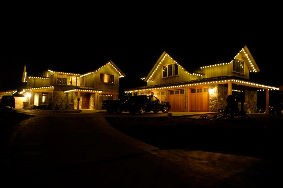 Residential Christmas Light Installation - Large Warm White Lighting on House Roofline
