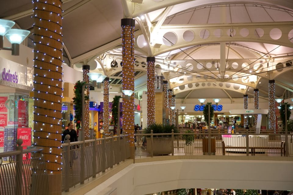 Commercial Christmas Lighting - Pure White Mini Lights on Columns
