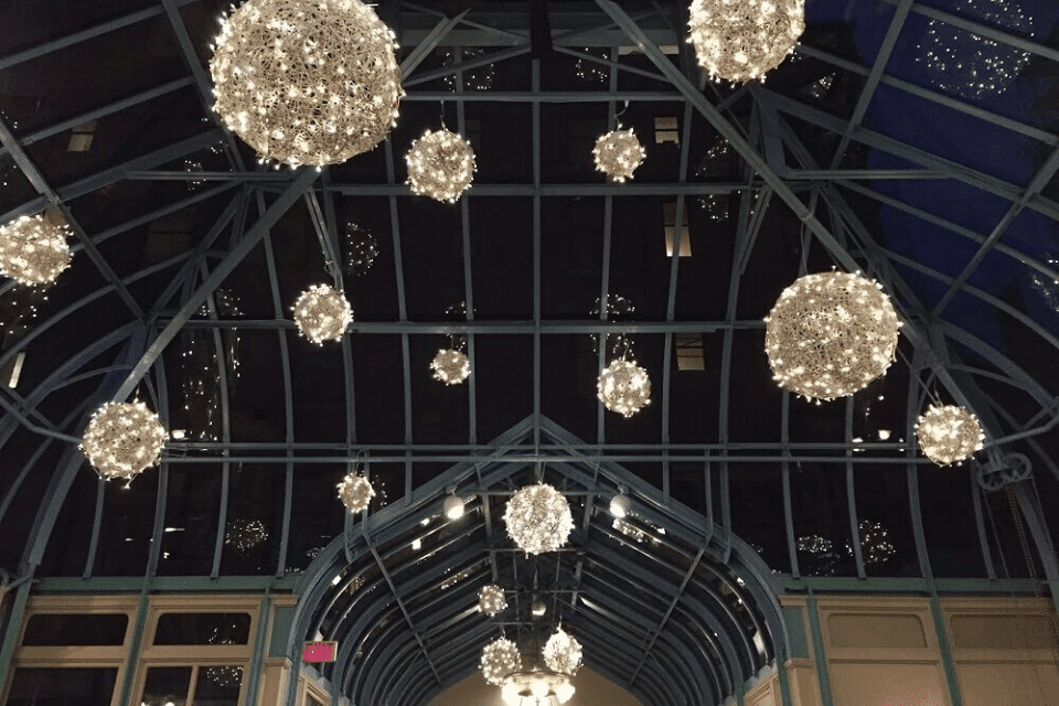 Special Event Christmas Lighting -Warm White Lighted Ornaments In Hotel Atrium