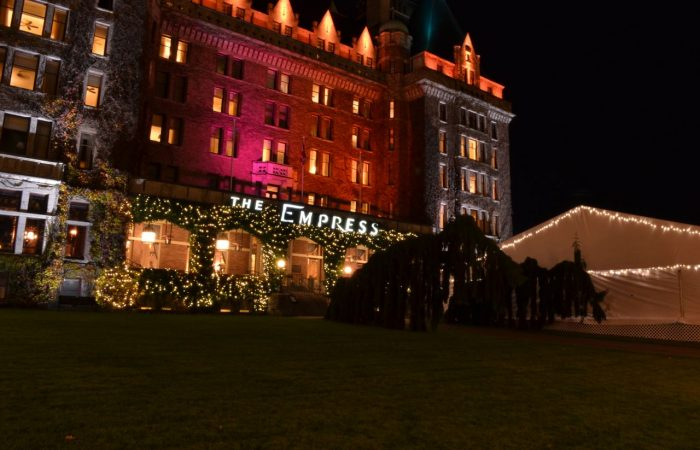 Commercial Installation - Victoria - Fairmont Empress - Warm White Lights in Hedges