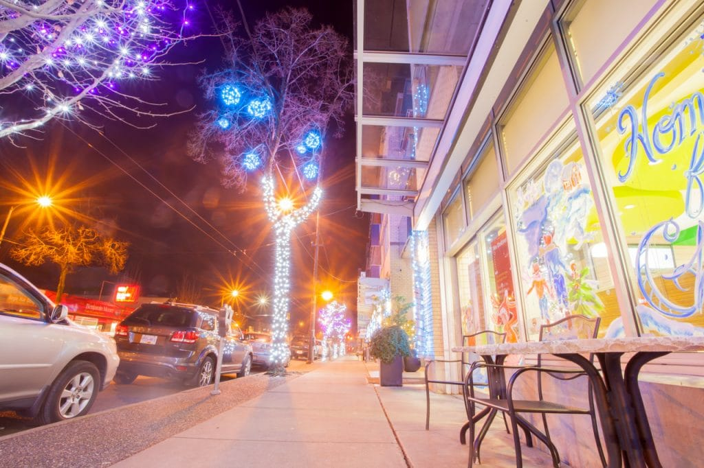 Main Street - Pure White Tree Wrap with Blue Ornaments