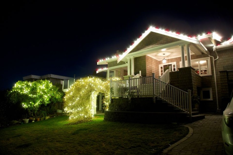 FestiLight - Christmas Residential Install - Lights on house, warm-white and red
