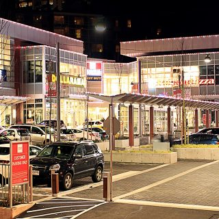 FestiLight - Commercial Light Installation - Christmas Car Parkade - Pure White and Red - Roof Line