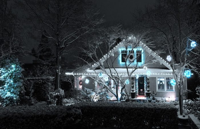 FestiLight - Residential Install - Black and white - Christmas Ornaments and Roofline