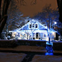 FestiLight - Residential Christmas Light Installation - Pure White and Blue - Roof Line and Ornament