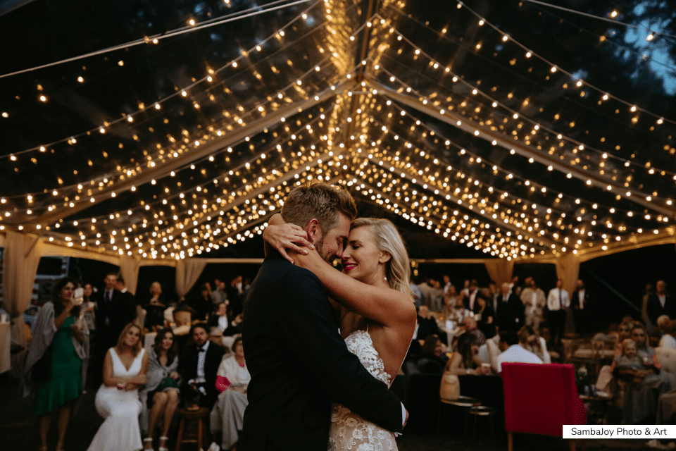 wedding light installation canopy globe lights